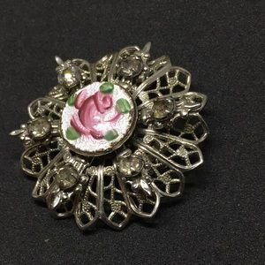Vintage Silver Rose Czech Brooch